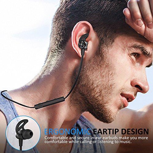 Auriculares Bluetooth ATGOIN Cascos Bluetooth running Auriculares inalámbricos Bluetooth 4.1 (magnéticos ajuste firme resistentes al sudor estéreo deportivos micrófono integrado autonomía 6 h)