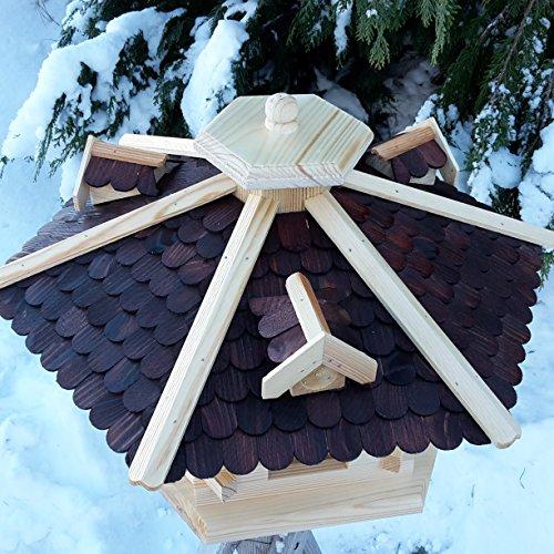 Vogelhaus Ø 59cm Vogelhäuser Vogelfutterhaus Vogelhäuschen aus Holz Schreinerarbeit Gaube Dunkelbraun sehr Groß XXXL - 2