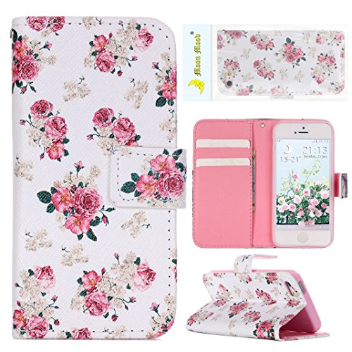 iPhone SE Flip Cover, iPhone 5 Handyhülle, iPhone 5S Case,Moon mood® Flip Case Brieftasche für Apple iPhone 5/5S/SE (4.0 Zoll) ,PU Leder Hülle Wallet Case Folio Schutzhülle Scratch Design Bumper Handy Pinke Blume