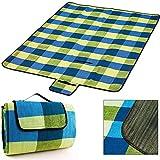 Picknick Decke XXL 200 x 200 cm mit Tragegriff isolierende Unterseite hellblau gelb Beach Decke Picknickteppich Campingdecke