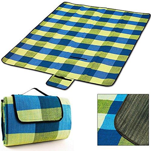 Picknick Decke XXL 200 x 200 cm mit Tragegriff isolierende Unterseite hellblau gelb Beach Decke...