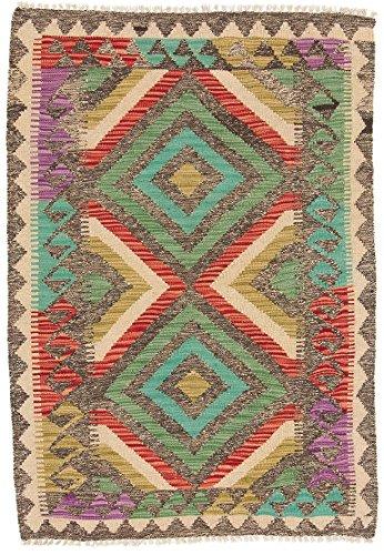 CarpetFine: Tapis Kilim Afghan - 83x120 cm Multicolore - Géométrique