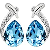 Yellow Chimes Crystals from Swarovski Blue Crystal Designer Studs Earrings for Women and Girls