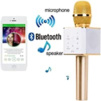 VRJTEC Q7 Handheld Wireless Mike | Multi-Function Bluetooth Karaoke Singing Mic with Microphone Speaker for All Smart Phones (Gold)