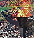 Unbekannt Feuerschale Schwarz Metallic mit Ornamenten Durchbruch 52 cm, Metalleinleger für Schutz, mit Füssen