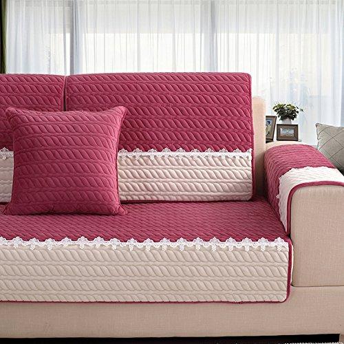 HM&DX Microsuede Sofa abdeckung Für sektionaltore couch, Dense gesteppt Anti-rutsch Schmutzresistent Möbel-protector shield Für Wohnzimmer-Wein 2*Kissenbezug 17.7*17.7 in