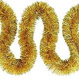 Weihnachts Deko7,5cm Feinschnitt Lametta Girlande 3x 2m (6m) – Gold