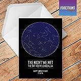 Personalizzato The Night We MET Star/Constellation Map/Night Sky biglietto d' auguri–qualsiasi testo/postazione/data eventi o per ogni occasione–Compleanno/Natale/matrimonio/anniversario/fidanzamento/festa del papà, festa della mamma–idea regalo