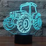 Neuheit Traktor 3D Illusion Lampe führte Nacht Licht mit 7 Farben blinken & Touch-schalter USB-Stromversorgung Schlafzimmer Licht Schreibtischlampe Lampen für Kinder Geburtstag Geschenke Haus Dekoration