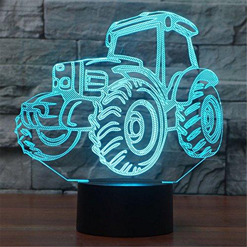 3D Illusion Lampe Traktor LED Nachtlicht, USB-Stromversorgung 7 Farben Blinken Berührungsschalter Schlafzimmer Schreibtischlampe für Kinder Weihnachts geschenk 3