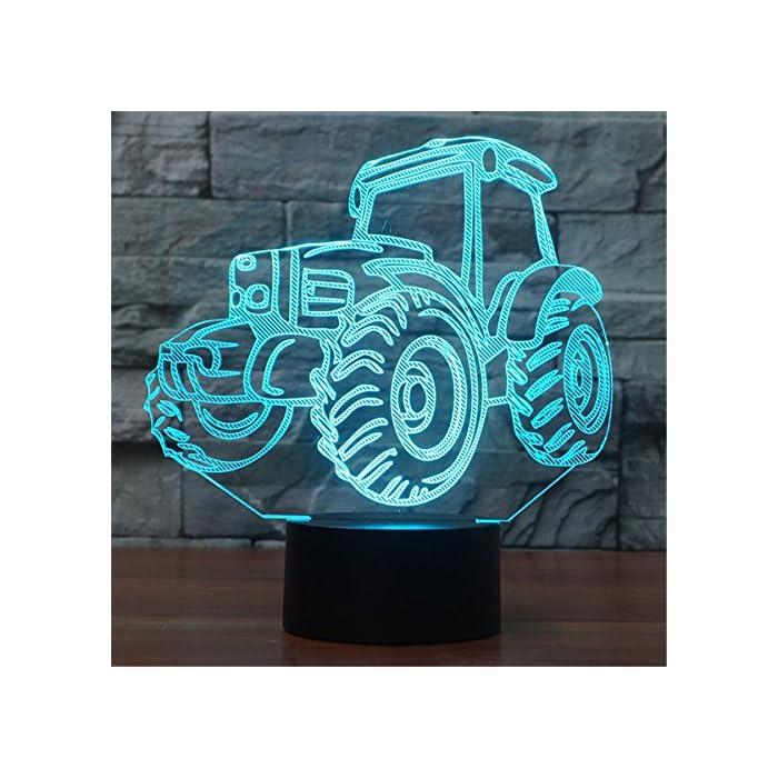 3D Illusion Lampe Traktor LED Nachtlicht, USB-Stromversorgung 7 Farben Blinken Berührungsschalter Schlafzimmer Schreibtischlampe für Kinder Weihnachts geschenk 1