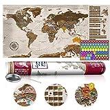 murando - Rubbelweltkarte englisch XXL - 100x50 cm - Weltkarte zum Rubbeln mit Länder-Flaggen - Laminiert - Design Geschenk-Tube - Viele Extras - Rubbel Landkarte Poster zum freirubbeln - Geschenk Idee - World Map - k-A-0225-o-b