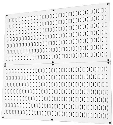 Stecktafel zur Wandsteuerung, für Zuhause und Garage, Werkzeugaufbewahrung & Organisation, weißes Metall, 2 x 81,3 x 40,6 cm, weiße Stahl-Pegboard-Platten