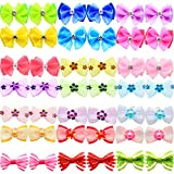 HOLLIHI 40pcs/20 Pairs Adorable Grosgrain Ribbon Pet Dog Hair Bows with Rubber Bands - Puppy Topknot Cat Kitty Doggy Grooming Hair Accessories Bow knots Headdress Flowers Set for Groomer