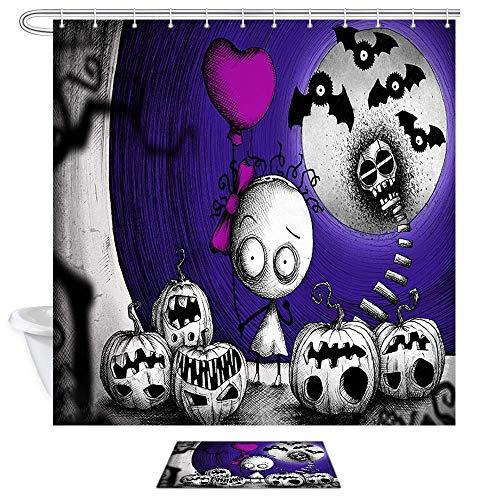 Aliyz Lustige Halloween Time Ghost Kürbis Duschvorhänge Vintage Black Skull Bat für Halloween Party Polyester Stoff Bad Vorhang Kinder Badezimmer Dekor Sets Duschvorhänge und Teppiche 71X71in