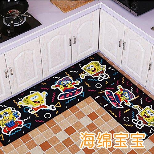 �der, Fußmatte, Fußmatten, Schlafzimmer, Teppich Fußmatte, Tür, Badezimmer, Wasser absorbierend, Rutschfeste Matten, 80 X 120 Zentimeter, Spongebob ()