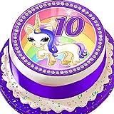 Runder Tortenaufsatz zum 10. Geburtstag, Motiv: Violettes Einhorn, vorgeschnittene, essbare Dekoration, 19cm, UL10