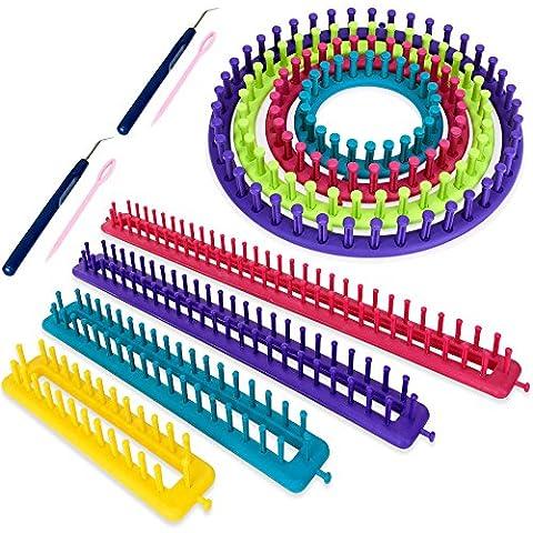 Maglia Telaio anelli per maglia Set 6tlg rotondi rettangolare Anello maglia aiuto Caterinetta, 6-tlg Strickrahmen-Set