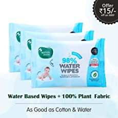 Mother Sparsh Baby Water Wipes, 15 Baby Wipes, Pack of 3 (Plant Based Fabric, 100% Biodegradable Wipes)