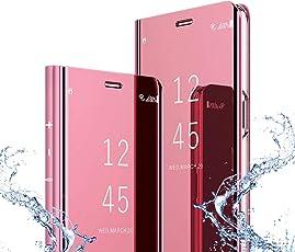 Topadorer Xiaomi Redmi 5 Plus Schutzhülle Tasche Klapphülle mit Standfunktion und Panzeglas Schutzfolie für Xiaomi Redmi 5 Plus,Roségold
