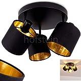 Plafondlamp Alsen, ronde plafondlamp van metaal/stof in zwart/goud, 3-vlam, met verstelbare spots, 3 x E14 max. 28 Watt, spot