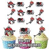 prédécoupés Amour hockey sur glace Mix–comestible pour cupcakes/gâteau Décorations (lot de 12)