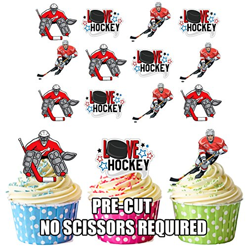 prédécoupés Amour hockey sur glace Mix – comestible pour cupcakes/gâteau Décorations (lot de 12)
