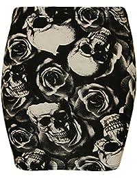 Neue Frauen Mini Bodycon Jersey Stretch Printed Röcke 36-48