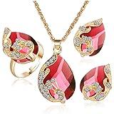 Set di gioielli in pavone Orecchini con strass da donna Orecchini Set di gioielli Set di ciondoli in cristallo con ciondolo p