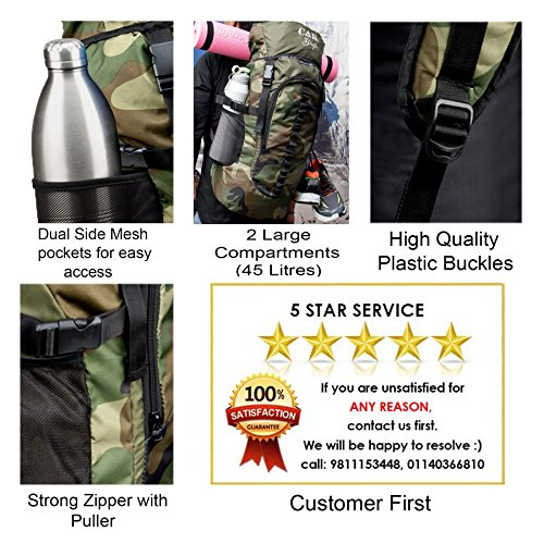 Chris & Kate Large Army Green Camouflage Bag || Travel Backpack || Outdoor Sport Camp Hiking Trekking Bag || Camping Rucksack Daypack Bag (45 litres)(CKB_186LL) Image 6