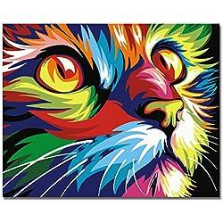 Sin Marco, Pintura por números Bricolaje DIY Pintura al óleo Vistoso Cara de Gato Impresión de la Lona Mural Decoración hogareña por Rihe