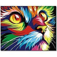 Sans cadre, Peinture par numéros Peinture à l'huile de bricolage Peinture à l'huile colorée de visage de chat Décoration d'art de mur d'art par Rihe