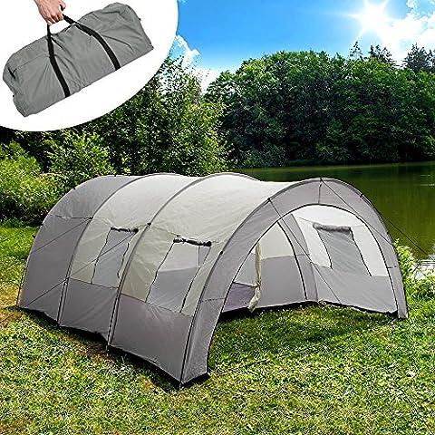 TecTake Tunnelzelt Campingzelt Familienzelt Gruppenzelt Camping Zelte | 4 - 6 Personen – diverse Farben - (Grau | Nr. 401689)