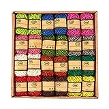 Juego de 24 rollos de cordel de yute – Cuerda de cordel natural, cuerda de yute, cuerda de cordel para manualidades, bricolaje, decoración, adornos, colores surtidos – 10 metros por rollo
