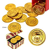 Kasstino 25PCS Plastic Gold Coins Pirate Treasure Chest Play Money Birthday Party Favors