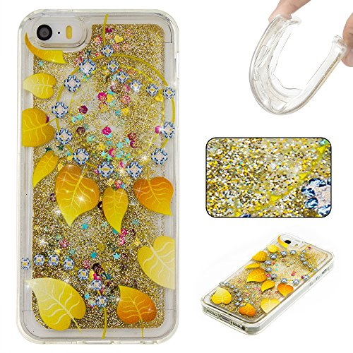 For APPLE IPHONE 5S/SE[CUTE SPARKLING]Novelty Creative Liquid Glitter Design Liquid Quicksand Bling Adorable Flowing Floating Moving Shine Glitter Case -SILVER SMILE GOLD LEAVES