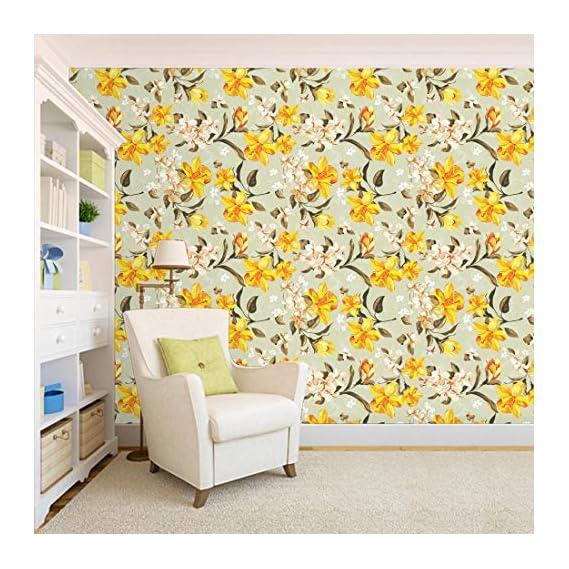 100Yellow? Floral Pattern Self Adhesive Peel And Stick Waterproof Hd Wallpaper (Pvc Vinyl, 44 Sqft, Multicolour)