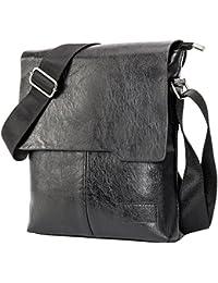 fa3efd1c9eac2 Borsa Uomo Minibag con Patta in Pelle Chiusa Zip Tracolla in Nastro  Regolabile