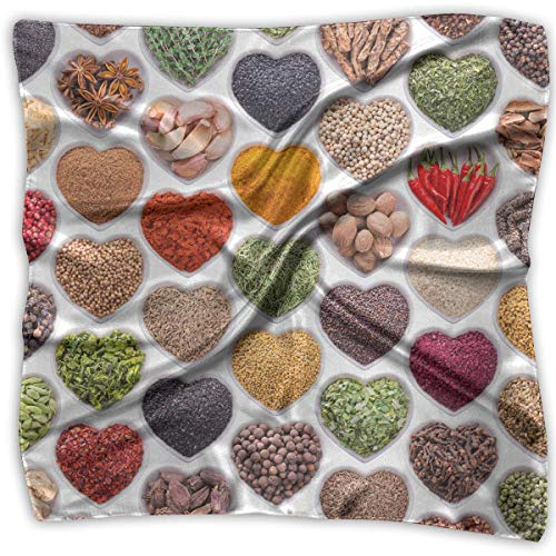Love Ingredients Spices Silky Square Scarf Kerchief Neck Scarf Headdress