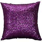 Fundas De Cojines,DoraMe Sólido color Glitter lentejuelas tiro funda de almohada Cafe Home Decor fundas (40cm*40cm, Púrpura)