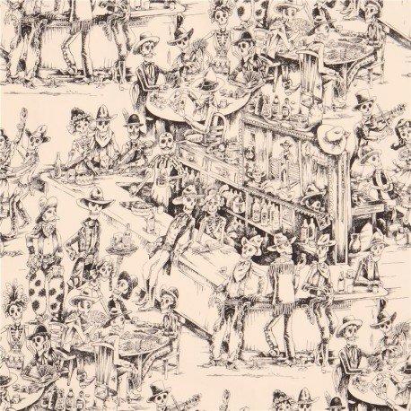 Cream Alexander Henry fabric cowboy skeleton tavern