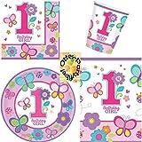 Sweet Birthday Girl 1. Geburtstag 1. Jahr Partyset für 16 Mädchen Teller Becher Servietten Tischdecke 49 Teile