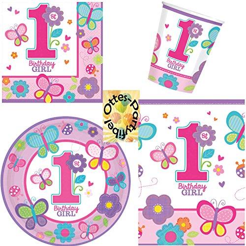 1. Geburtstag 1. Jahr Partyset für 16 Mädchen Teller Becher Servietten Tischdecke 49 Teile (Geburtstag-mädchen-mädchen Zubehör)