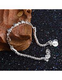 8c1998afcff6 925 Sterling Silber vergoldet Damen-Charm Love Herz Perlen Armband Armreif  Schmuck