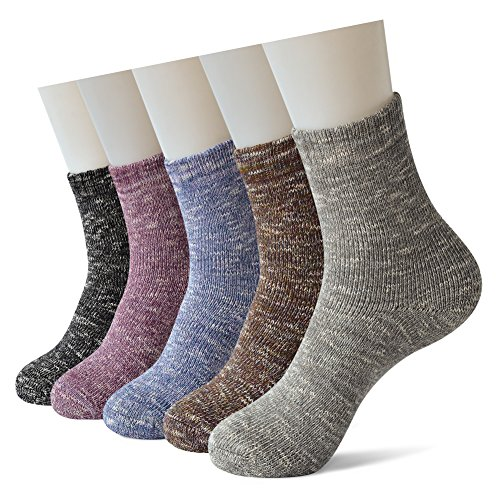 Sweet Nana Pack 5 Damen Super Dick Gestrick lässigen Crew Winter Socken, Extra warme weiche komfortable Baumwolle schwere Boot Outdoor-Knöchel (Socken Quartal Womens)