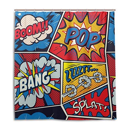 (ALAZA Retro Pop-Art-Comic-Duschvorhang 72 x 72 inch, schimmelresistent und Wasserdicht Polyester Dekoration Badezimmer-Vorhang)