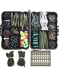 JSHANMEI ® 225pcs Kit/boîte pour pêche à la carpe avec crochets pivotant émerillons/perles en caoutchouc tubes/plomb/clips