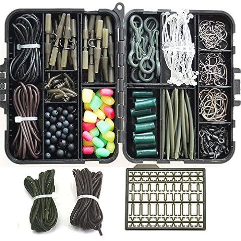 JSHANMEI ® 225pcs Kit/boîte pour pêche à la carpe avec crochets pivotant émerillons/perles en caoutchouc tubes/plomb/clips (225pcs kits de pêche à la carpe, 1 boîte)