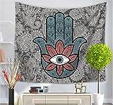 Chengsan Hamsa Handtapisserie indisches Mandala Floral Wandteppich für Zuhause Psychedelic Tagesdecke Kunst Teppich, Polyester-Mischgewebe, 6, 78x59Inches
