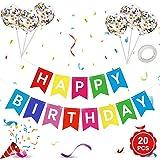 Baner 'Happy Birthday', banery 'Happy Birthday' z kolorowymi lateksowymi balonami z konfetti, tęczowe banery z chorągiewkami